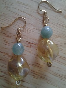 Handmade NEW Handmade Genuine Gemstone AVENTURINE w Vintage Twist Beads EARRINGS