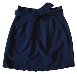 Club Monaco Scalloped Bow Tie Pockets Detachable Belt Skirt blue