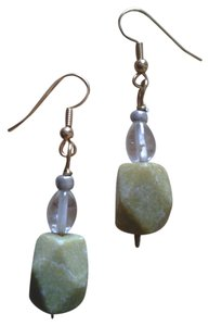 Handmade NEW Handmade Genuine Gemstone Serpentine and Rock Crystal Pendant EARRINGS