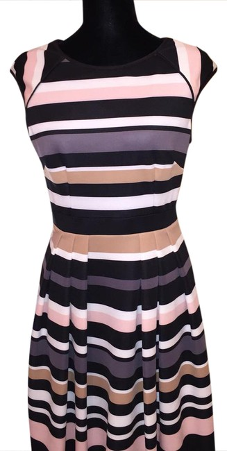 Item - Multi Color Stripes Cap Sleeve Fit and Flare Mid-length Work/Office Dress Size 6 (S)