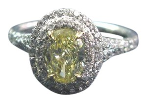 Tiffany & Co. Tiffany & Co Plat/18Kt Fancy Intense Yellow Diamond Soleste Ring 1.24C
