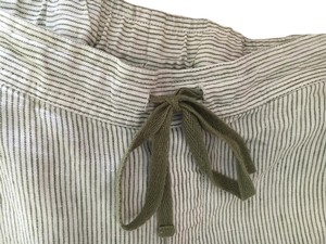 J. Jill Linen Jjill Stripe Comfortable Baggy Pants Beige and green