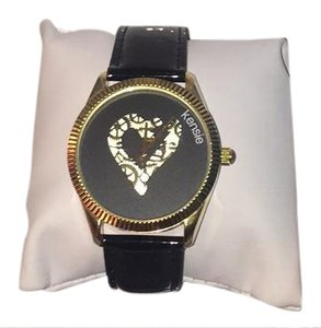 Kensie Kensie Love ❤️Throughout Time, Ladies Watch, w/ Gold Face, Patent Leather Strap.