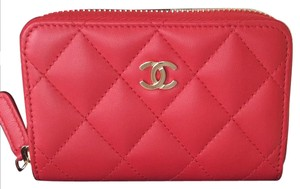 Chanel red Lambskin zippy card holder coin purse compact wallet