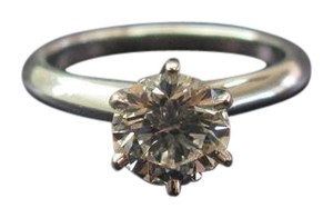 Tiffany & Co. Tiffany & Co PLAT Round Diamond Solitaire Engagement Ring 1.09CT G-VVS