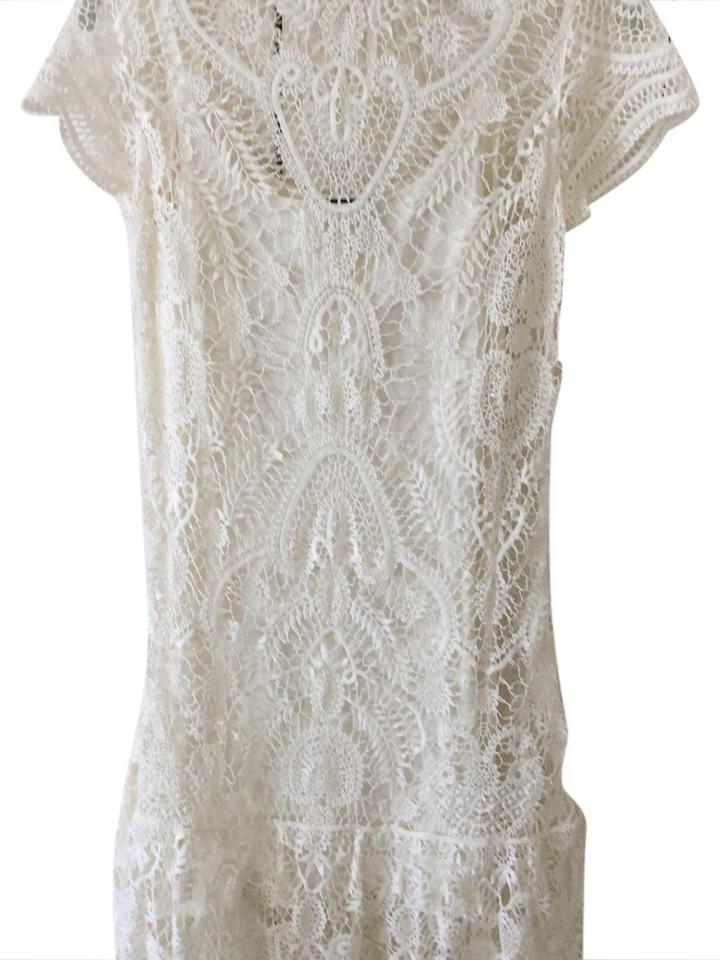 Ralph Lauren Ivory Lace with Cotton Slip Mid-length Cocktail Dress ...