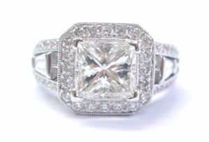 Other 18Kt Princess Baguette & Round Pink Diamond Engagement Ring 2-Tone 3.0