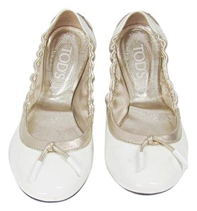 Tod's Patent Leather Tie White Flats