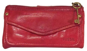Fossil fossil distressed vintage red leather clutch wallet snap button