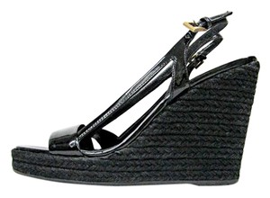 Prada Leather Platform Patent Leather Black Wedges