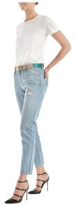 Sandrine Rose Embroidered Waist Boyfriend Cut Jeans-Light Wash