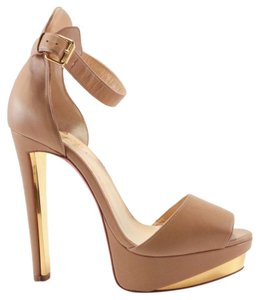 Christian Louboutin Tuctopen Heels Gold nude Platforms