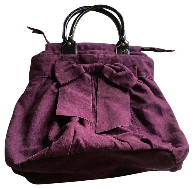With Big Bow Purple Velvet Tote With Big Bow Purple Velvet Tote Image 1