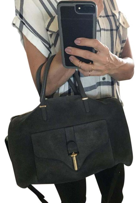 Item - Duffle Tube Grey Suede Leather Cross Body Bag