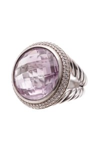 David Yurman David Yurman Sterling Silver 18mm Amethyst & Diamond Cerise Ring