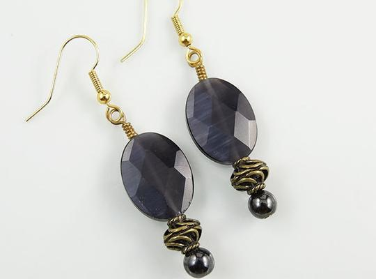 Handmade 14k Gold Filled Hematite Earrings