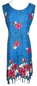 Shoreline short dress Blue Multi Color Hawaiian Boho Vintage Sheath Hibiscus on Tradesy
