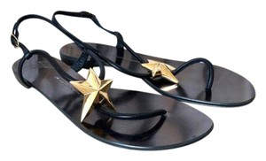 Giuseppe Zanotti Leather Star Black Sandals