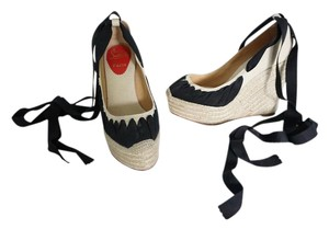 Christian Louboutin Espadrille Lace Up & Ribbon Beige & Black Wedges