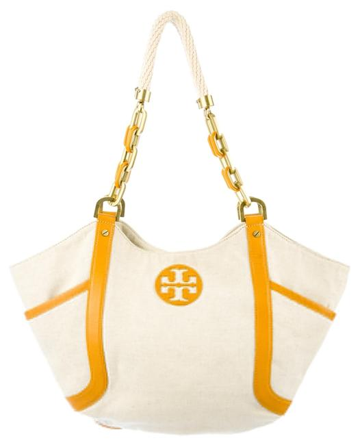 Item - And with Leather Trim Beige / Yellow Canvas Tote
