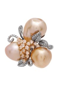 Other 18K White & Yellow Gold South Sea Pearl & Diamond Cocktail Ring