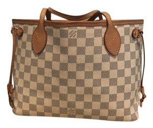 Louis Vuitton Neverfull And White Damier Tote in Azur Blue Check