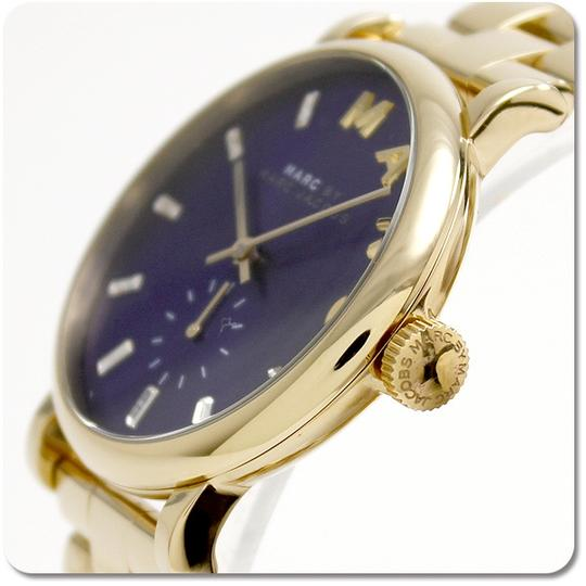 Marc Jacobs NWT Marc By Marc Jacobs Baker Watch Gold Tone Navy Blue Dial