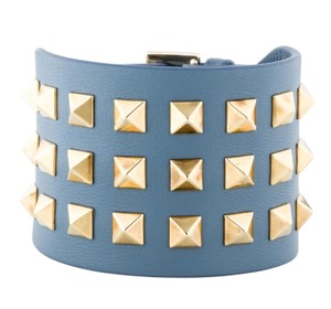 Valentino Gold-tone Valentino blue leather Rockstud wide studded bracelet