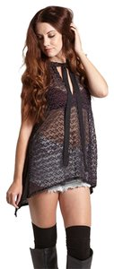 Free People Victorian Lace Sheer Top black purple-brown