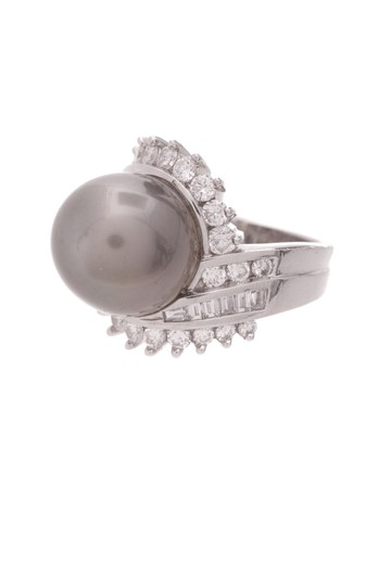 Other Platinum Tahitian Pearl & Diamond Cocktail Ring Image 0