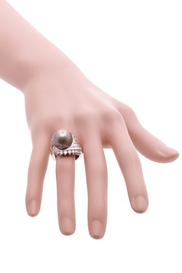 Other Platinum Tahitian Pearl & Diamond Cocktail Ring Image 5