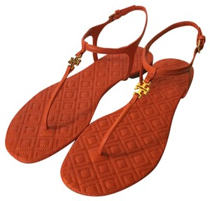 Tory Burch Flat Quilted Poppy Red Sandals