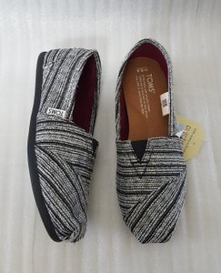 TOMS Classic Navy Textile Floral Silver Metallic Stripe Flats