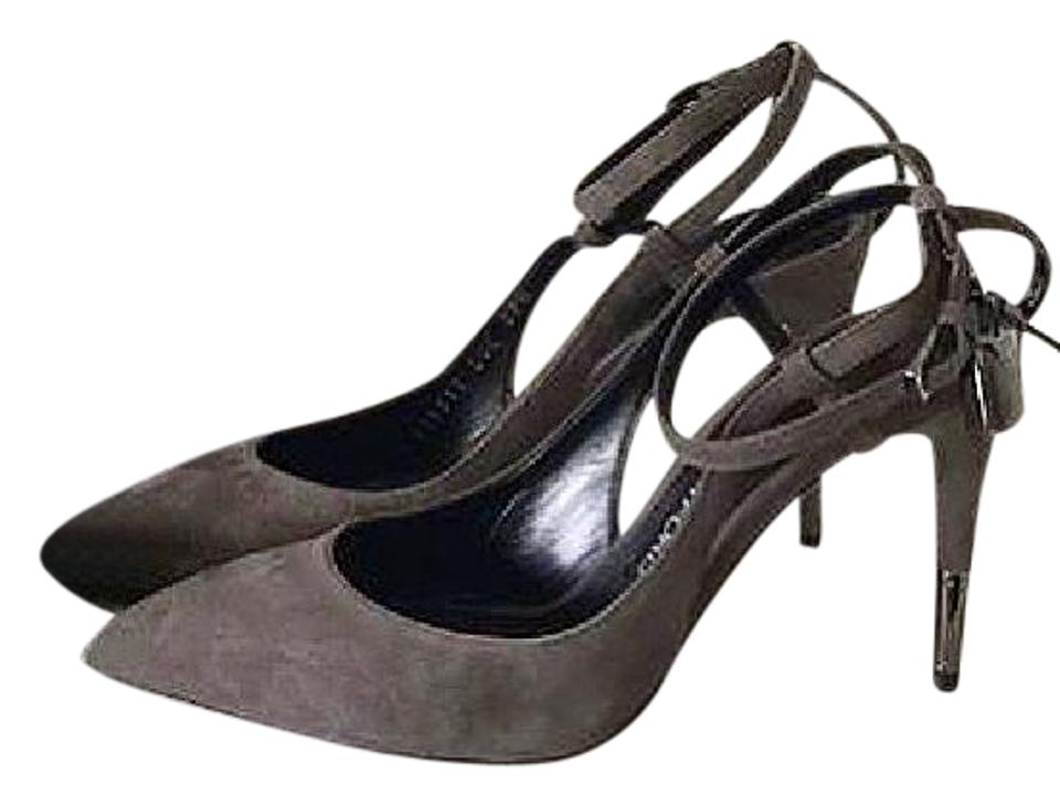 521beed36ca Tom Ford Gray Padlock Ankle Lock 85mm Suede Slingback Pumps Size EU ...