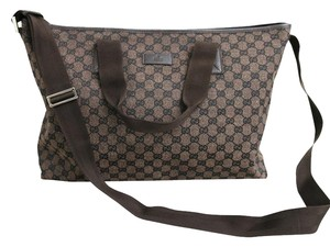 Gucci Canvas Leather Tote Messenger Brown Messenger Bag