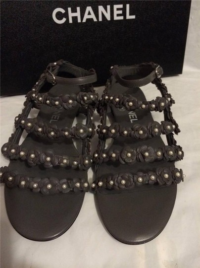 Chanel Cc Pearl Strappy Flat Grey Sandals