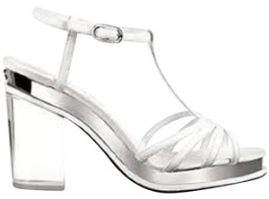 Chanel Cc Loafer High Heel Two Tone Silver Sandals