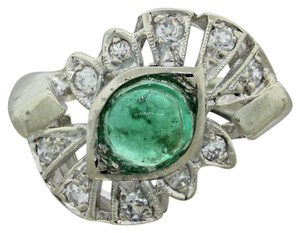 Other 1930s Antique Art Deco 14k White Gold Emerald Diamond Filigree Ring
