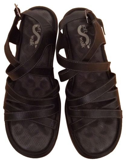 SoftWalk Black Sandals
