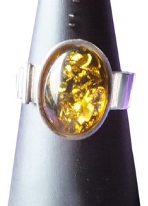 Other Large Amber Stone Ring In Sterling Silver, Size 8 1/4 Marked 925