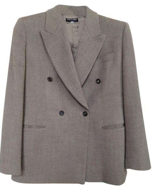 Item - Beige/Brown Herringbone Classic Double Breasted Blazer Pant Suit Size 14 (L)