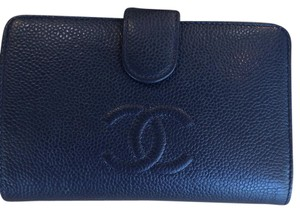 Chanel blue caviar French mid size wallet