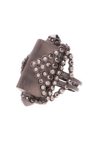 Alexis Bittar Alexis Bittar Gunmetal Gray Lucite & Crystal Origami Ring