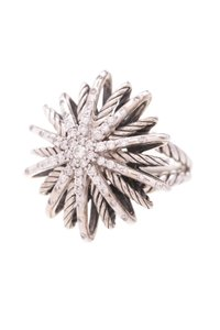 David Yurman David Yurman Sterling Silver & Diamond Medium Starburst Ring