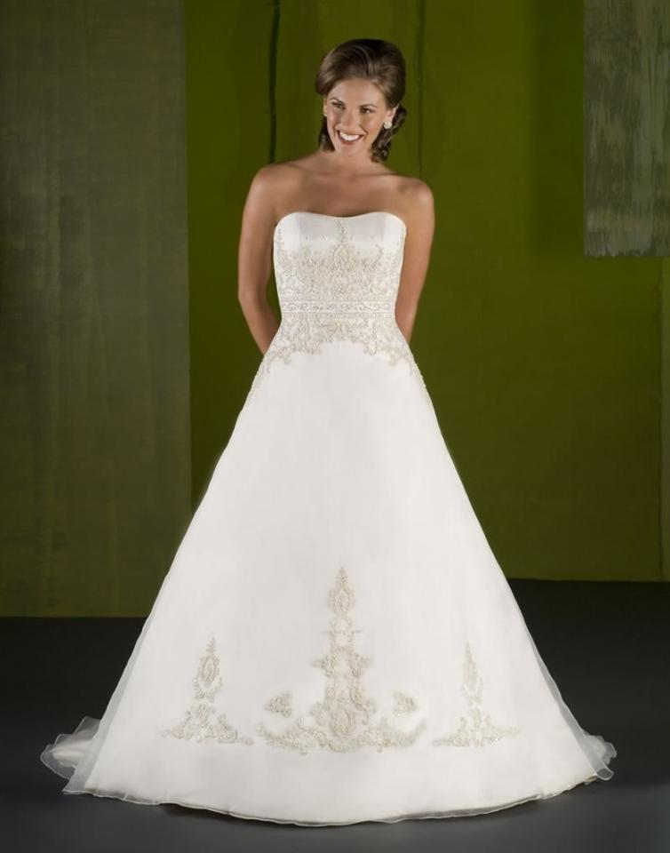 Emerald Bridal Ivory Satin 7004 Destination Wedding Dress Size 14 ...