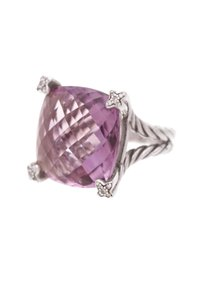 David Yurman David Yurman Sterling Silver 20mm Amethyst Cushion on Point Ring