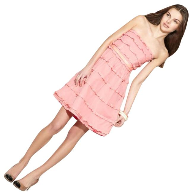 Item - Pink Tired Ruffle Mid-length Cocktail Dress Size 6 (S)