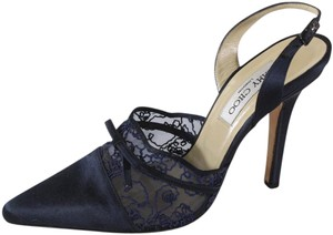 Jimmy Choo Satin Mesh Embroidery Blue Pumps