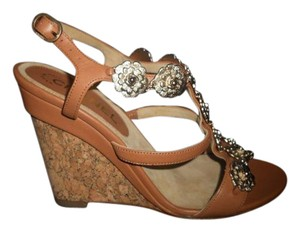 Chanel Camellia Wedge Snakeskin Cork Brown Sandals