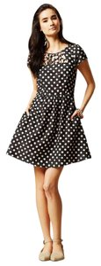 Anthropologie short dress Black and White Vintage Polka Dot Maeve Fit Flare on Tradesy